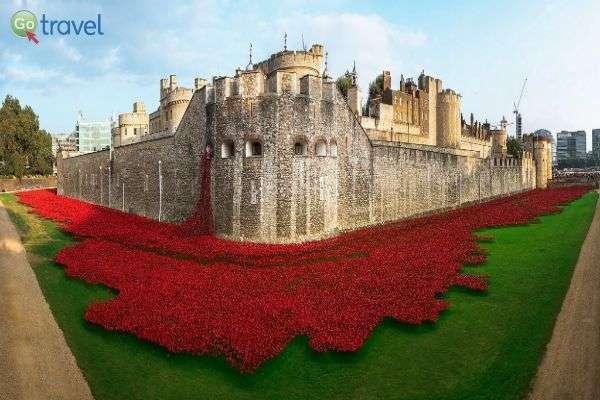 """""""ים של דם"""" - מיצג אמנות במגדל לונדון (צילום: Tammy Young Heck)"""