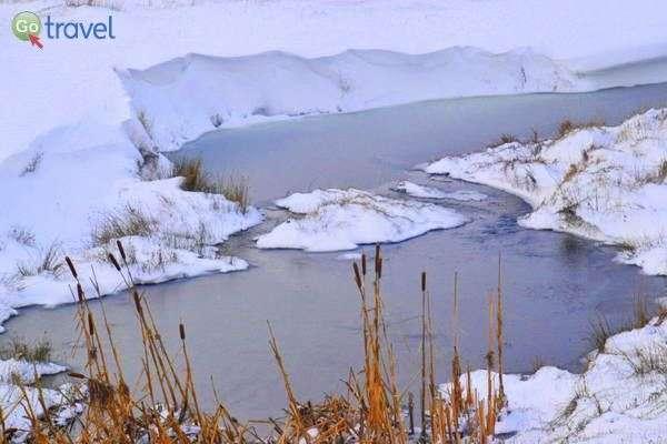 נחל שקפא עם השלג הראשון  (צילום: כרמית וייס)