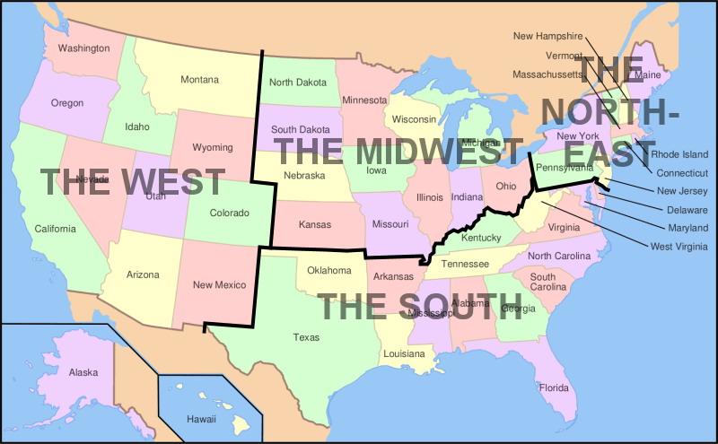 מדינות ארצות הברית - חלוקה לפי אזורי טיול