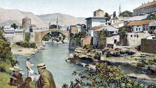 ציור ישן של העיר מוסטר והגשר הישן