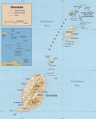 מפת גרנדה באיים הקריביים