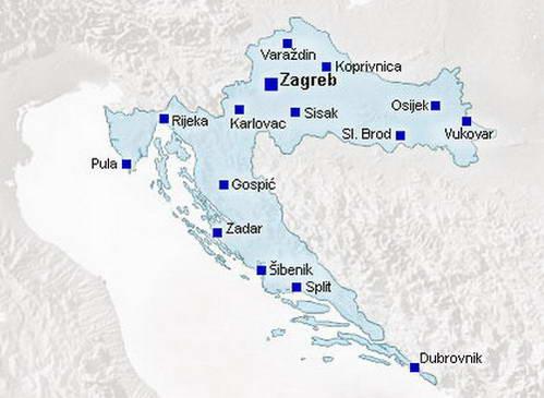 מפת ערי קרואטיה הגדולות