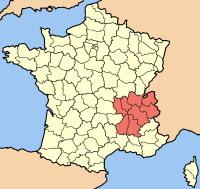 חבל רון-אלפ ומחוז סבואה על מפת צרפת