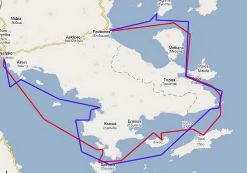 מפת שייט באיי יוון