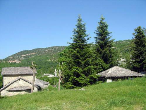 בתים כפריים עם גגות ציפחה בחבל זגוריה