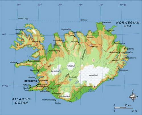 מפת איסלנד והכביש ההיקפי