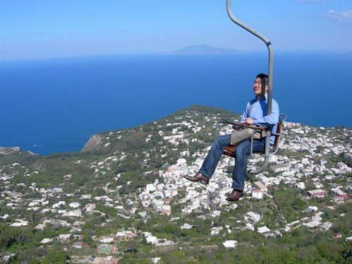 רכבל לפסגת מונטה סולארו, קאפרי, דרום איטליה