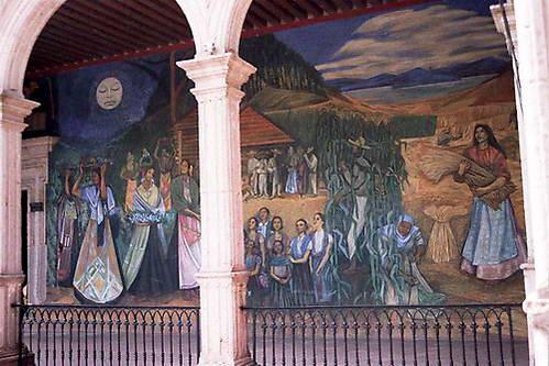 ציור קיר אופייני המאציל את עובד האדמה