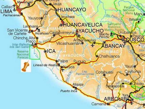 מפת החוף הדרומי של פרו, מארקיפה ללימה