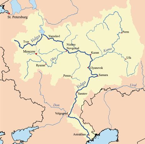 נהר הוולגה ואגן הניקוז שלו לים הכספי