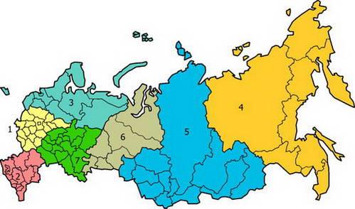 חלוקה למחוזות פדראליים ולסובייקטים פדראליים, רוסיה