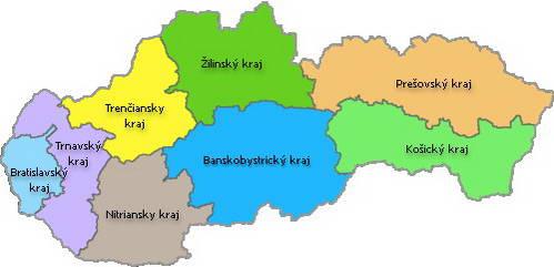 חלוקת סלובקיה לאזורים