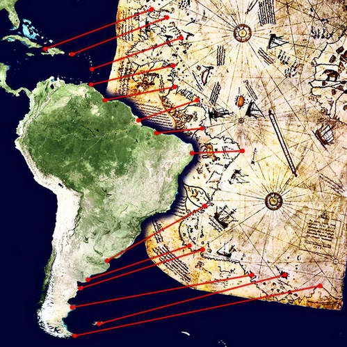מפת פירי רא'-איס, מפת דרום אמריקה, פטגוניה, ארגנטינה