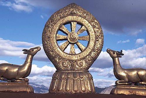 גלגל הדהארמה על גג מנזר ג'וקהאנג, ומשני צדיו צבי וצביה, אזכור לגן הצבאים של סראנאת