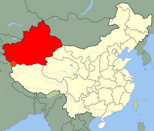 מחוז שינג'יאנג, במערב סין, מסומן באדום