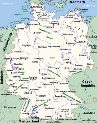 מפת נהרות גרמניה הגדולים