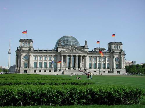 חזית בניין הרייכסטאג בברלין, גרמניה