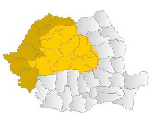 טרנסילבניה מודגשת בצהוב על מפת רומניה