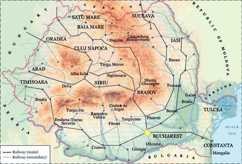 מפת קווי הרכבות ברומניה