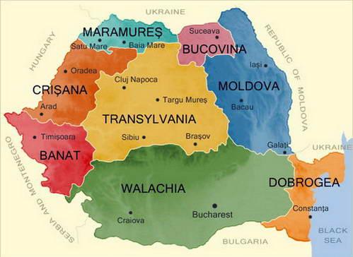 מפת שטחי רומניה ההיסטוריים