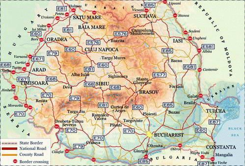 מפת כבישים ראשיים ברומניה