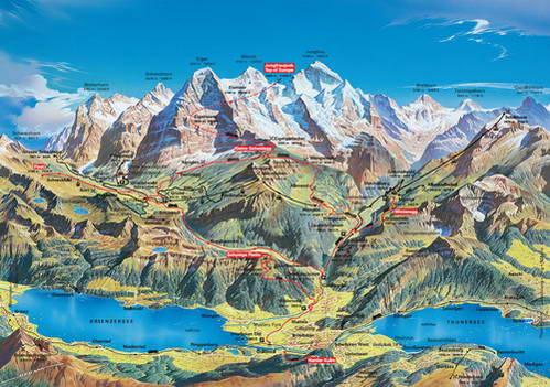 מפת אזור יונגפראו ואינטרלקן