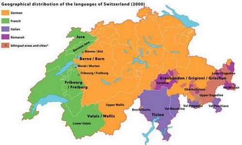 מפת אזורי השפות של שוויץ - בירוק האזור דובר הצרפתית