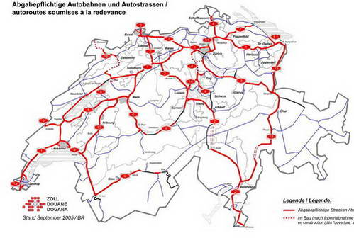 מפת הכבישים המהירים בשוויץ, הדורשים הדבקת מדבקה