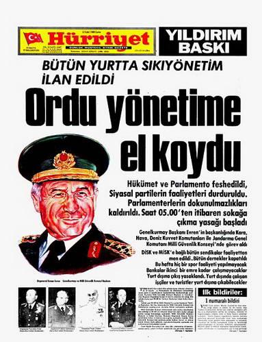 ספטמבר 1980, העיתון הירייט מדווח על ההפיכה הצבאית