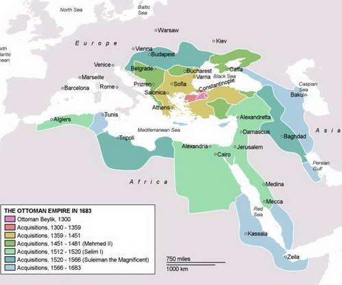 מפת התפשטות האימפריה העות'מנית