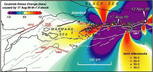 מפות רעשי האדמה 17 באוגוסט ו-12 בנובמבר 1999