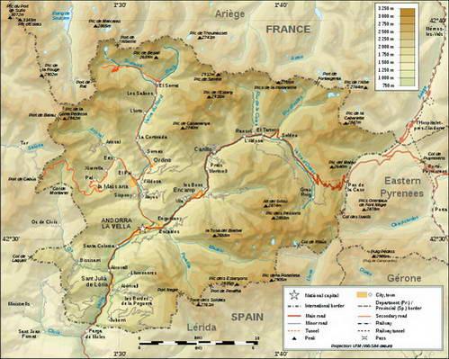 מפה טופוגרפית של אנדורה