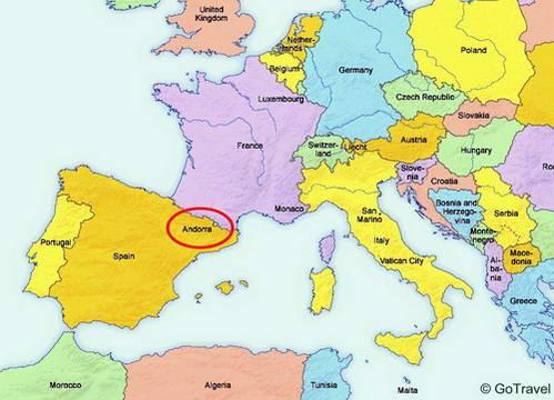 אנדורה על מפת אירופה