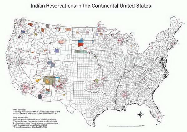 מפת שמורות האינדיאנים בארצות הברית