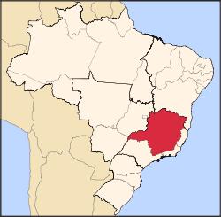 מפת מדינת מינס-ז'ראיס, ברזיל