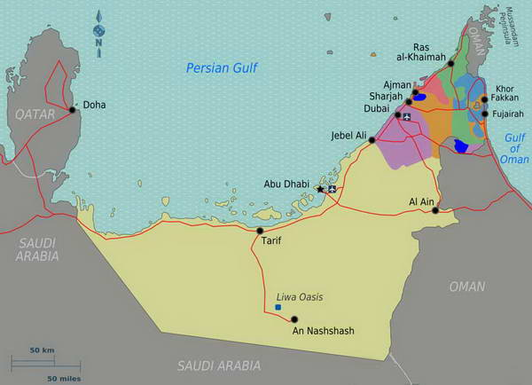 מפת איחוד האמירויות הערביות