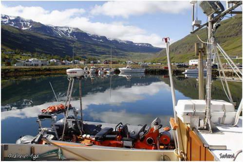 נמל Seydisfjordu בחוף המזרחי, איסלנד