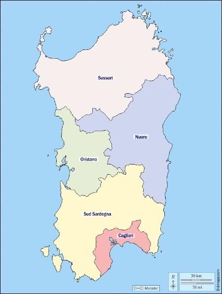 חלוקה של סרדיניה לפי פרובינציות