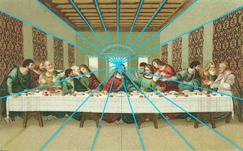 ישו במרכז 'נקודת מגוז' היוצרת פרספקטיבה