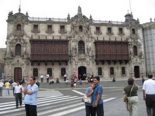 מבנה בסגנון קולוניאליסטי במרכז לימה ההיסטורית, פרו