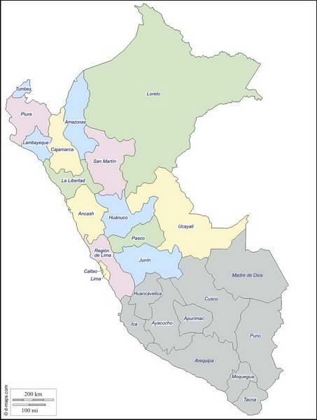 מפת דרום פרו