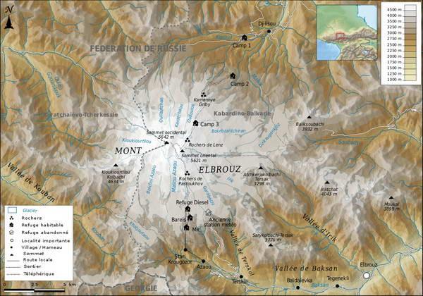 מפה של הר אלברוס, רוסיה