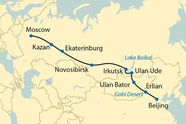 מפת המסע ברכבת הטראנס סיבירית