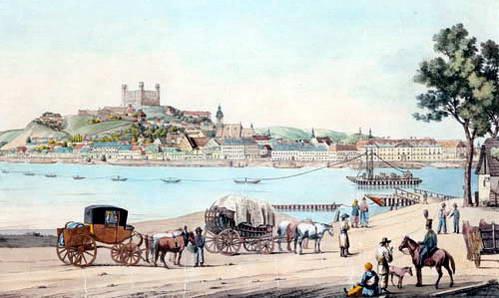 ציור ישן - נהר הדנובה, עורק החיים של העיר, וטירת ברטיסלבה