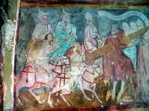 ציורי קיר מהמאה ה-15, בציור הימני שני יהודים עם כובע אותו חויבו ללבוש