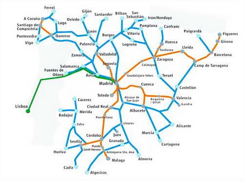 מפת רכבות בספרד