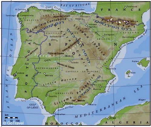 מפה טופוגרפית של ספרד ורכסי ההרים המרכזיים