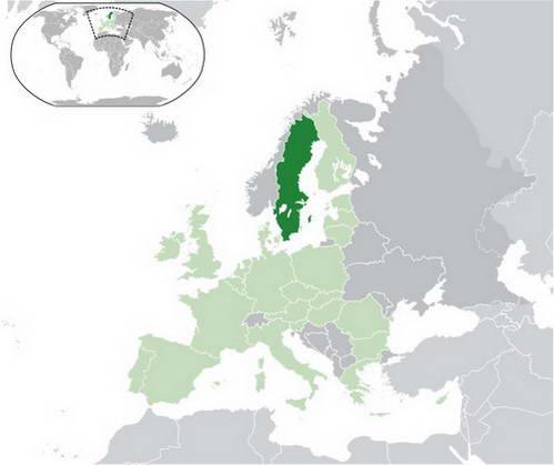 שבדיה על מפת אירופה