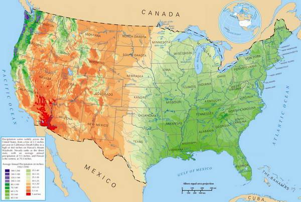 מפת משקעים ארצות הברית