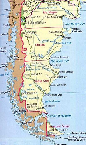 מפת חוף פטגוניה ארץ האש ומפרץ מגלן, ארגנטינה